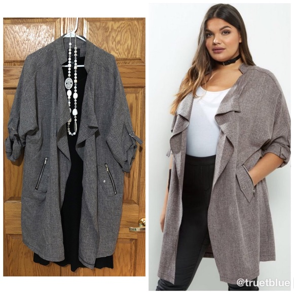 0ef2a32d63631 New Look Grey Waterfall Duster Jacket Sz 18